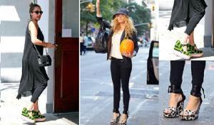 Celebrities wearing wedge shoes